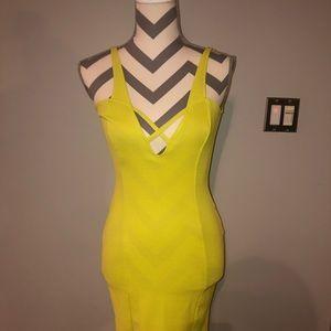 Oh My Love Fluorescent Yellow Mini Dress Sundress